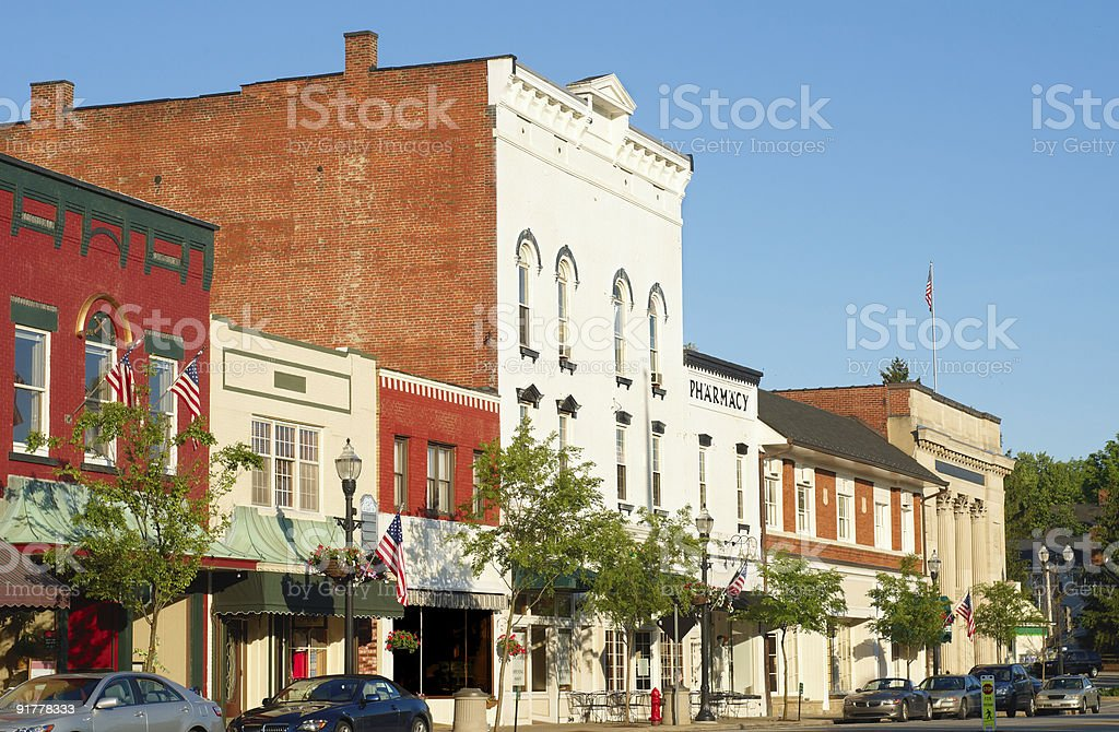 Old-fashioned Main Street stock photo