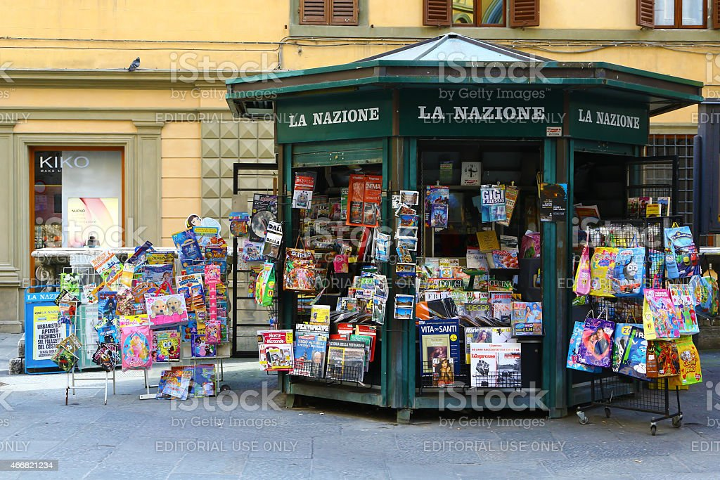 Old-fashioned newsstand in Siena, Italy stock photo