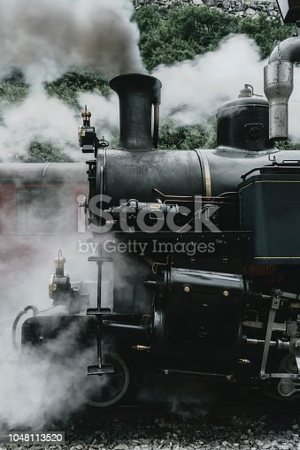 Old-fashioned steam train in Swiss Alps  in summer