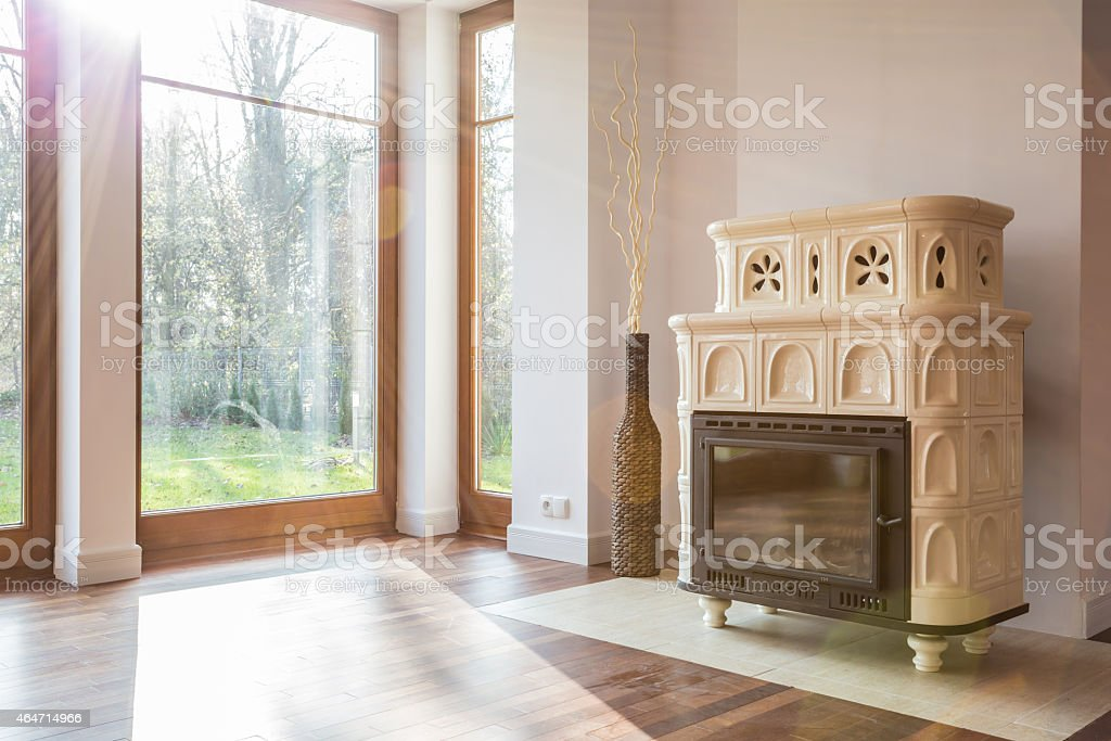 Old-fashioned stove in luxury interior stock photo