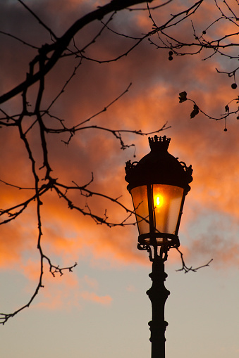 Outlined old-fashioned street light, sunset sky background.   A Coruña province, Galicia, Spain. Bare tree branches.