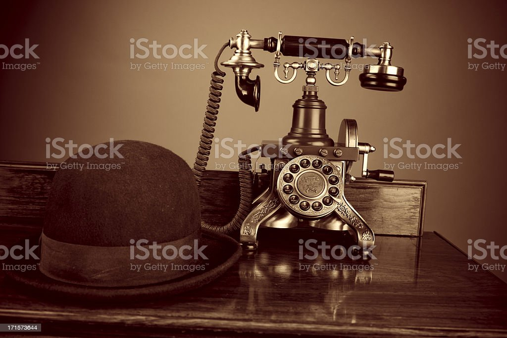 Old-fashioned Telephone And Hat royalty-free stock photo