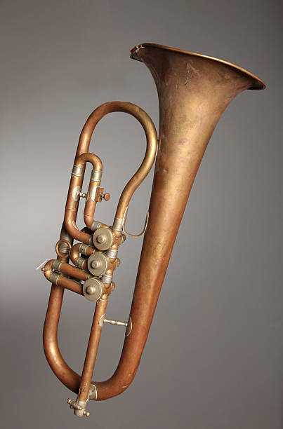 Old-fashioned trumpet stock photo