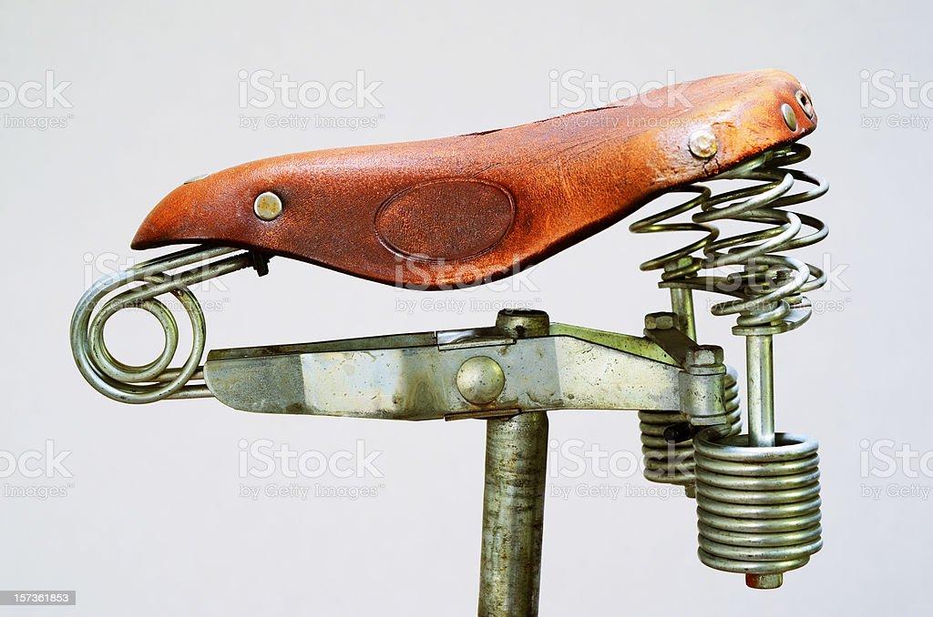old-fashioned vintage leather bike saddle royalty-free stock photo
