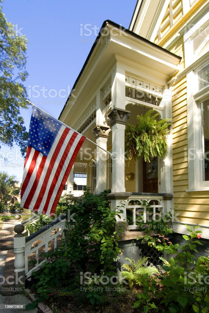 Old-House-Flag royalty-free stock photo