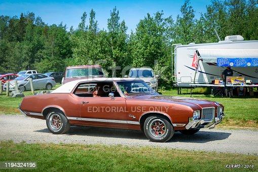 Tatamagouche, Nova Scotia, Canada - August 3, 2019 : 1971 Oldsmobile Cutlass Supreme at Annual Tatamagouche Auto Show in Tatamagouche's, Nelson Memorial Park.
