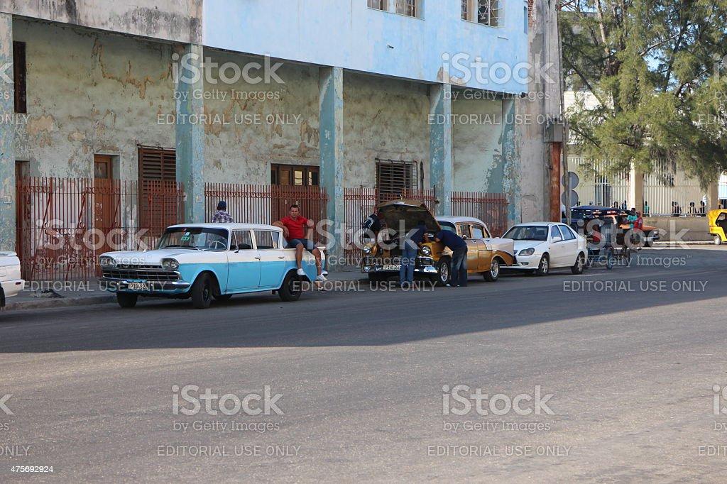 Oldsmobile taxi in Havana, Cuba stock photo