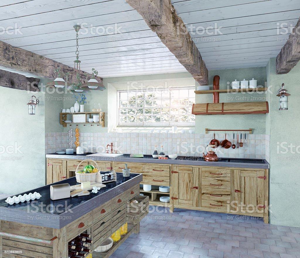 old-style kitchen stock photo