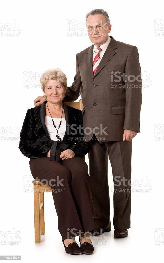 old-style portrait of friendly mature couple royalty-free stock photo