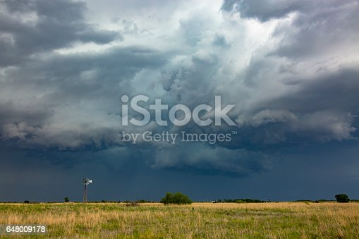 Old-style windmill dwarfed by severe, dangerous thunderstorm.  Horizontal, copy space.