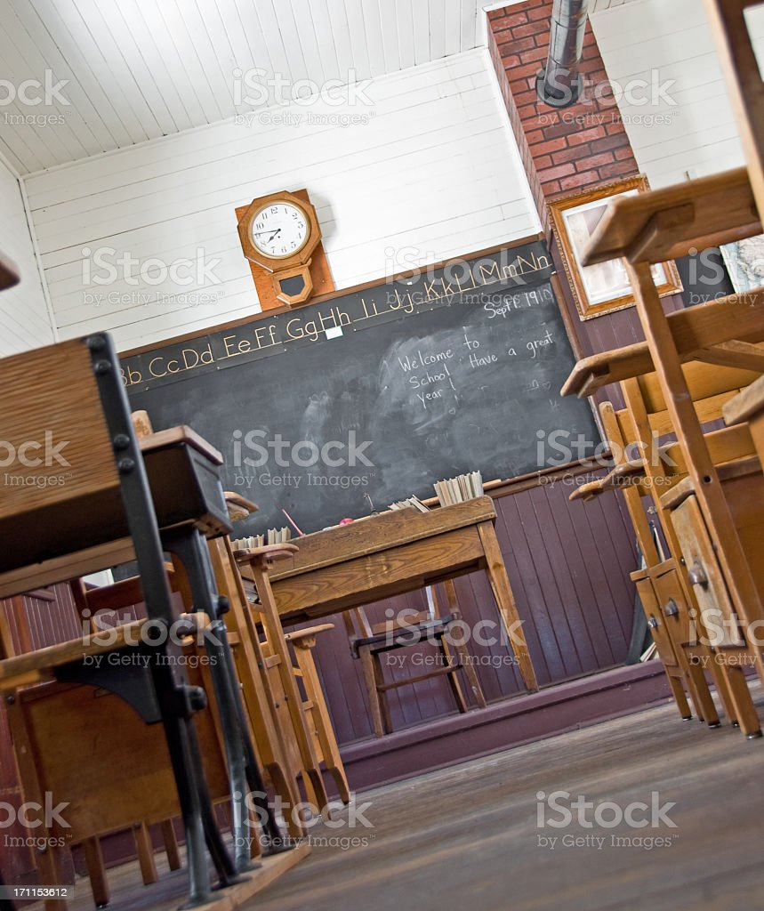 Old-Time Classroom Floor View stock photo