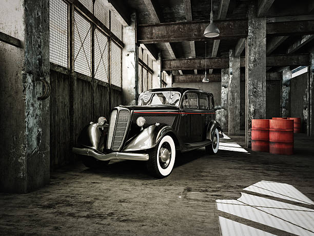 oldtimer in hangar - 20er jahre stock-fotos und bilder