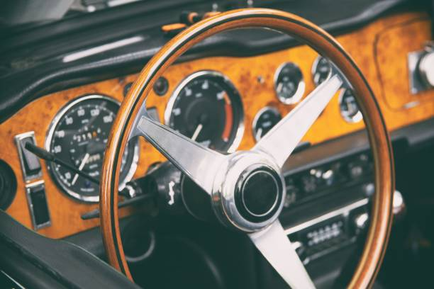 Oldtimer steering wheel stock photo