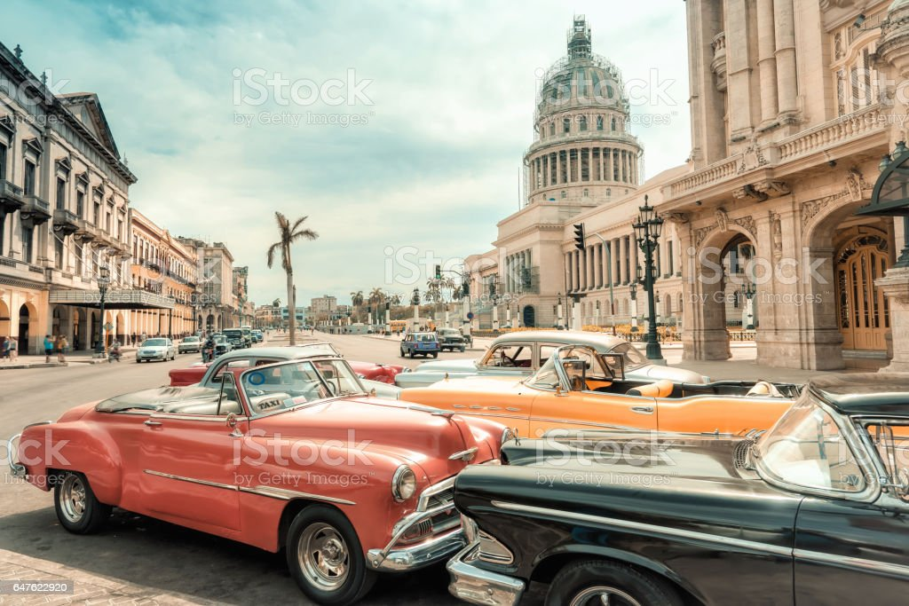 oldtimer taxi cars parking in front of Capitol in Havanna stock photo