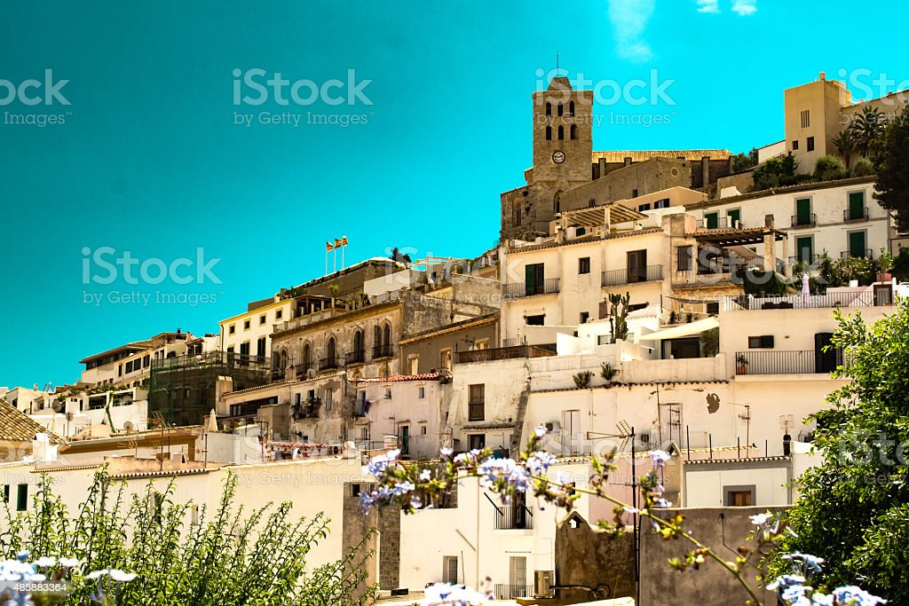 Oldtown of Ibiza with Cathedral Santa Maria stock photo
