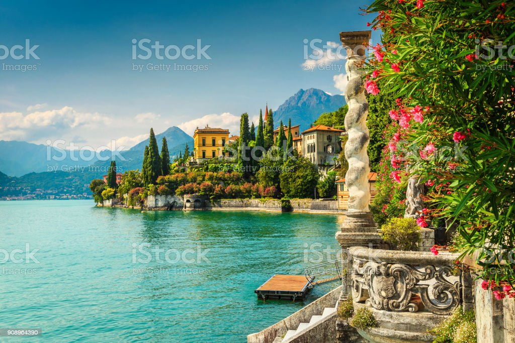 Oleander flowers and villa Monastero in background, lake Como, Varenna