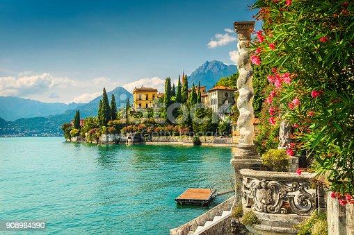 istock Oleander flowers and villa Monastero in background, lake Como, Varenna 908964390