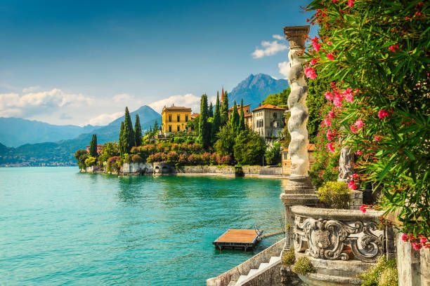 Oleander flowers and villa Monastero in background, lake Como, Varenna stock photo