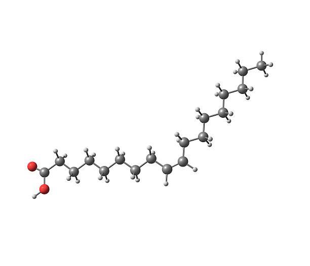Cząsteczki kwasu oleinowego na białym tle – zdjęcie