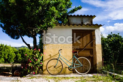 Olf bicycle with white background