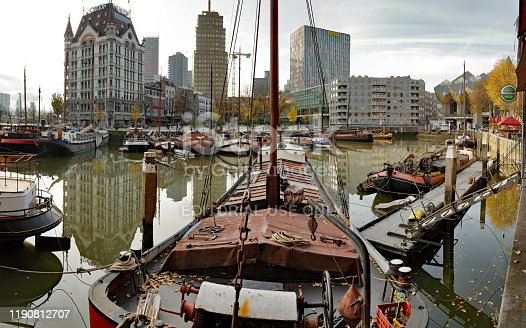 Rotterdam, Netherlands - November 17, 2019: old harbor district, now a site for historic boats