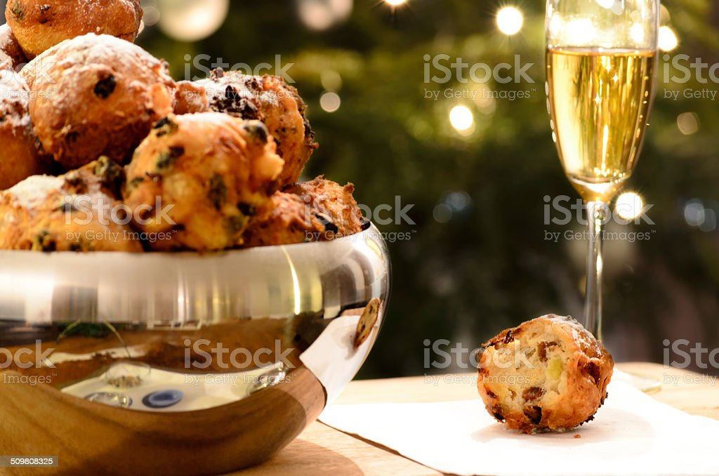 Oliebollen at New Year's Eve stock photo