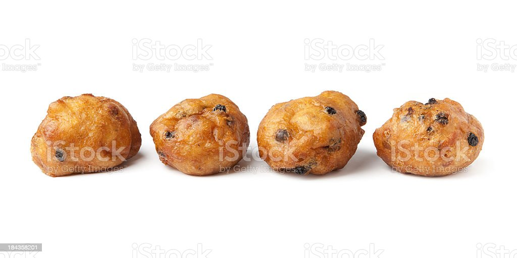 'Oliebollen', traditional Dutch pastry, on a white background stock photo