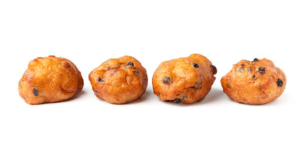 'oliebollen', traditional dutch pastry, on a white background - oliebollen stockfoto's en -beelden