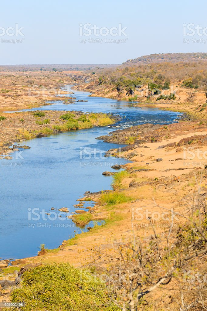 Olifants River panorama from Satara camp viewpoint, Kruger Natio stock photo