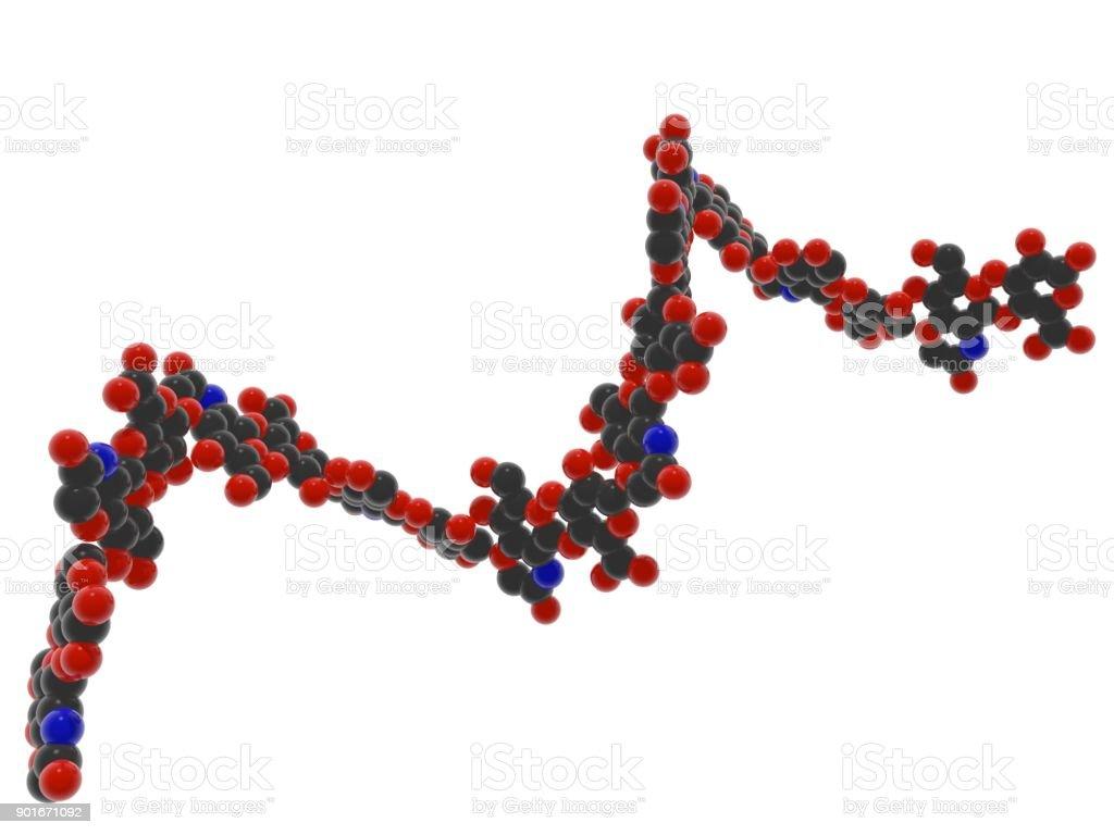 Oligómero de ácido hialurónico, ácido hialurónico - extracelular polímero orgánico compuesto de miríadas de moléculas del disacárido. - foto de stock