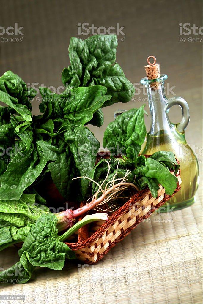 olio di oliva con verdura stock photo