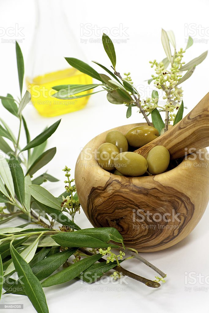 olive bath items isolated on the white. wellness products royalty-free stock photo