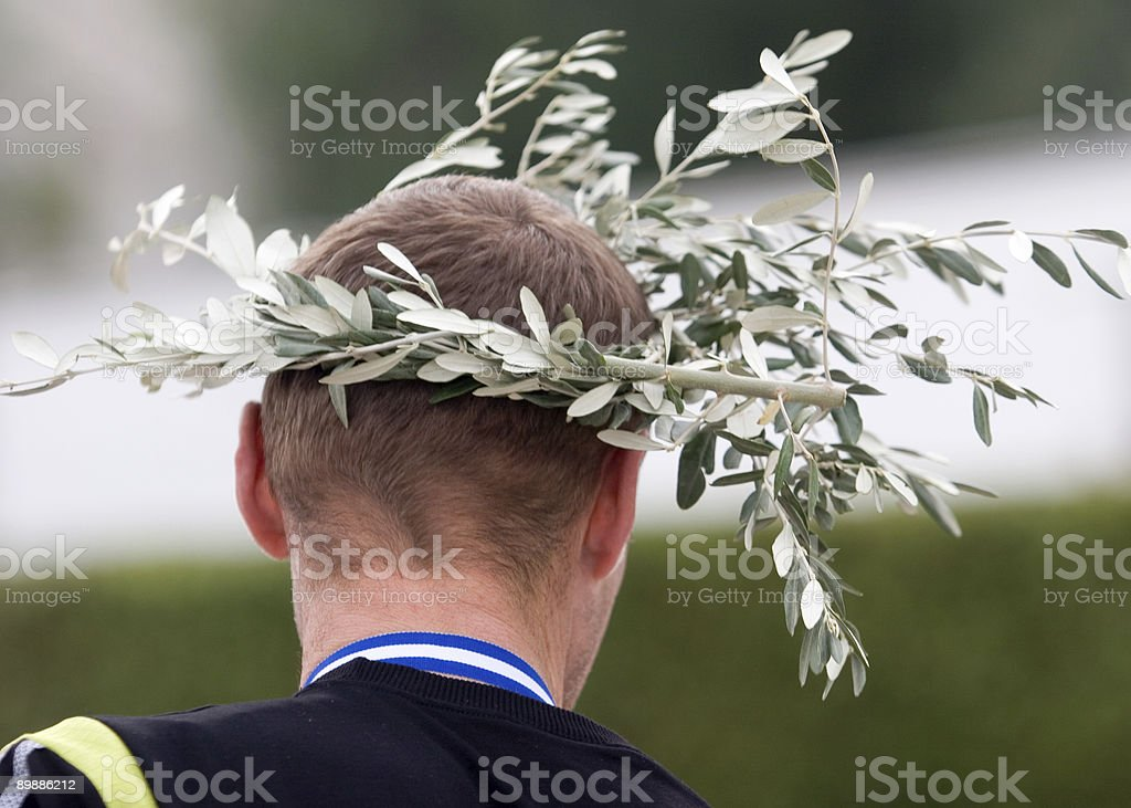 Olive branch laurel wreath in Athens, Greece royalty-free stock photo