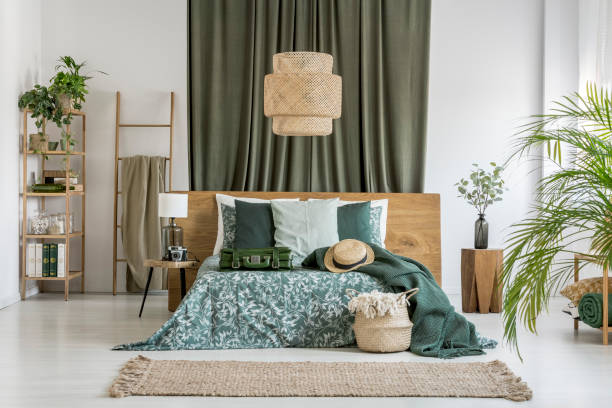 Olive cloth in bedroom stock photo
