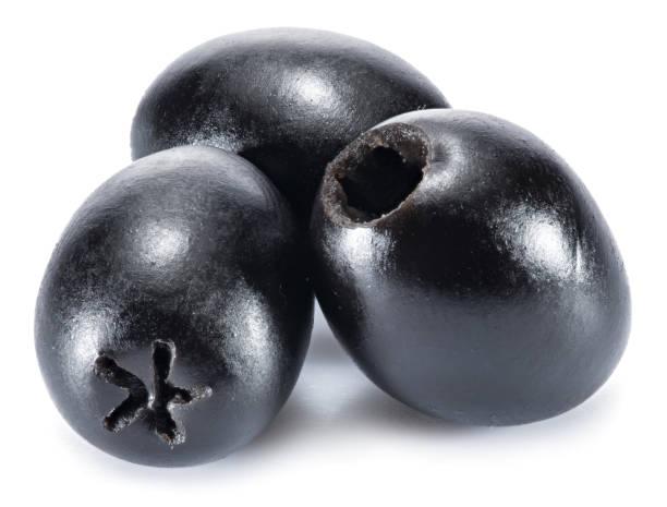 olive obst- und olivenbäumen lässt sich auf einem weißen hintergrund. - schwarze olive stock-fotos und bilder