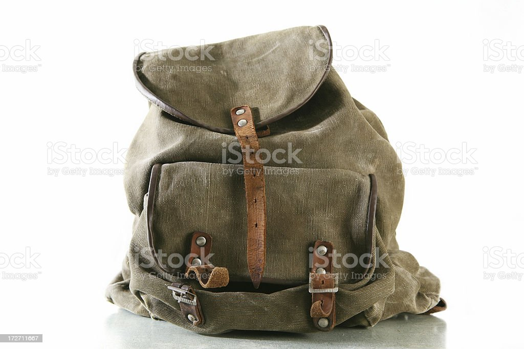 Olive green backpack with brown leather accents stock photo