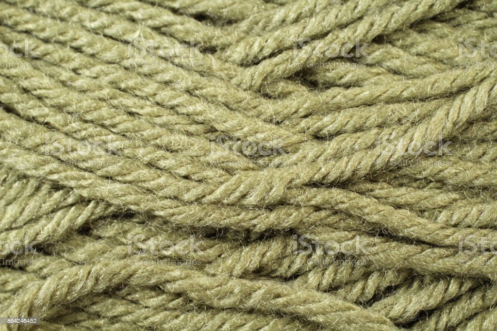 Olive Green Yarn Texture Close Up stock photo