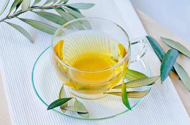 Olive leaf herbal tea. Dietary Supplements. stock photo