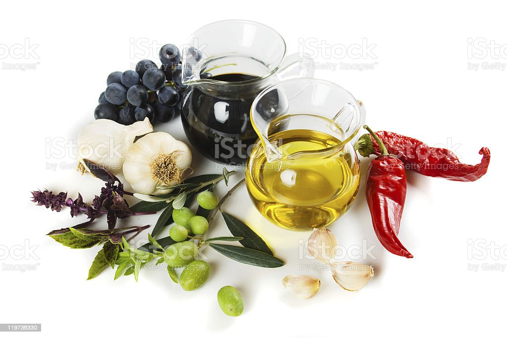 Olive oil and balsamic vinegar royalty-free stock photo