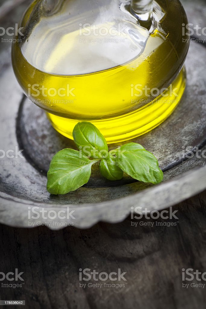 Olive oil and basil royalty-free stock photo