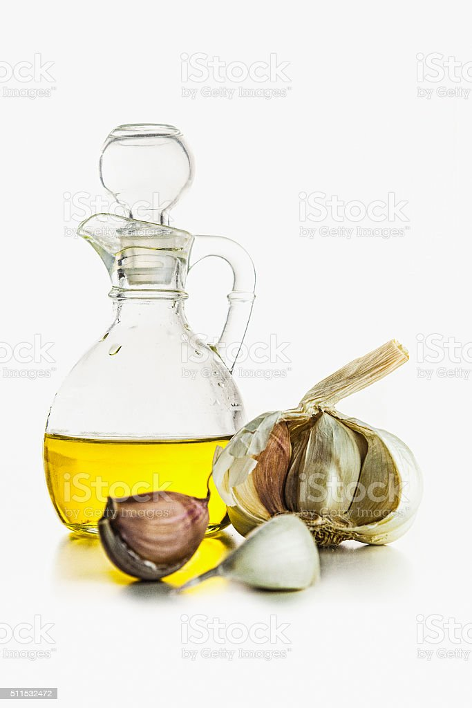 Olive Oil and Garlic stock photo