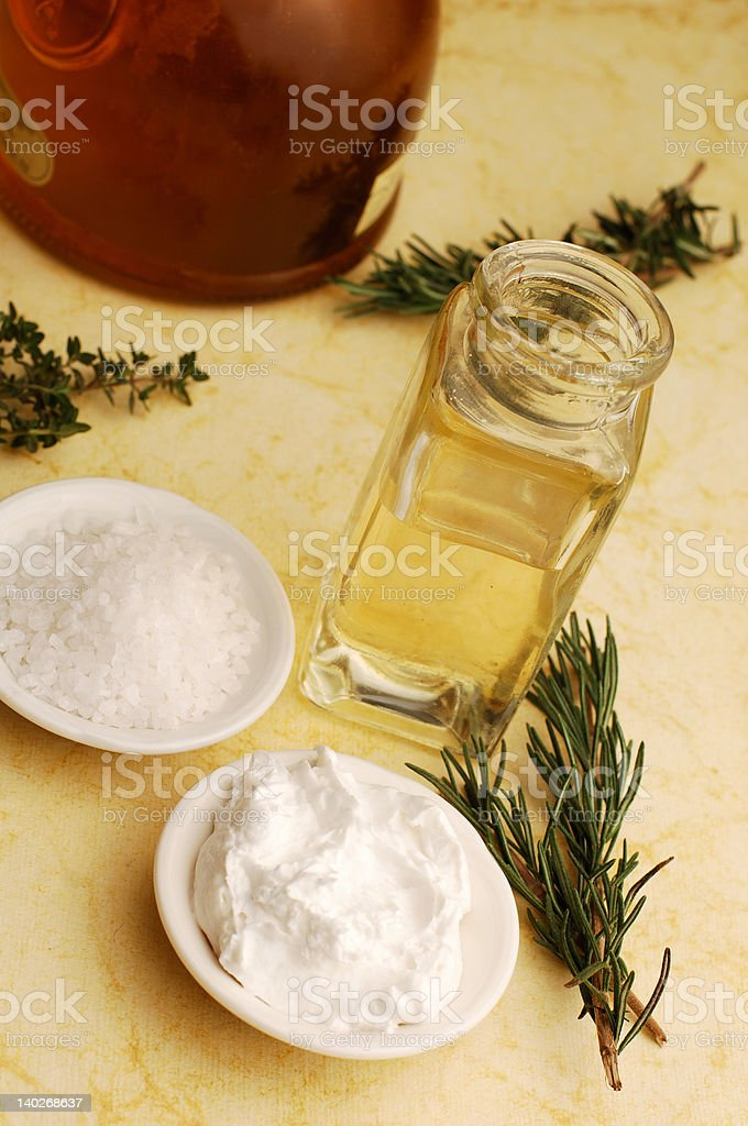 Olive oil and Herbs stock photo
