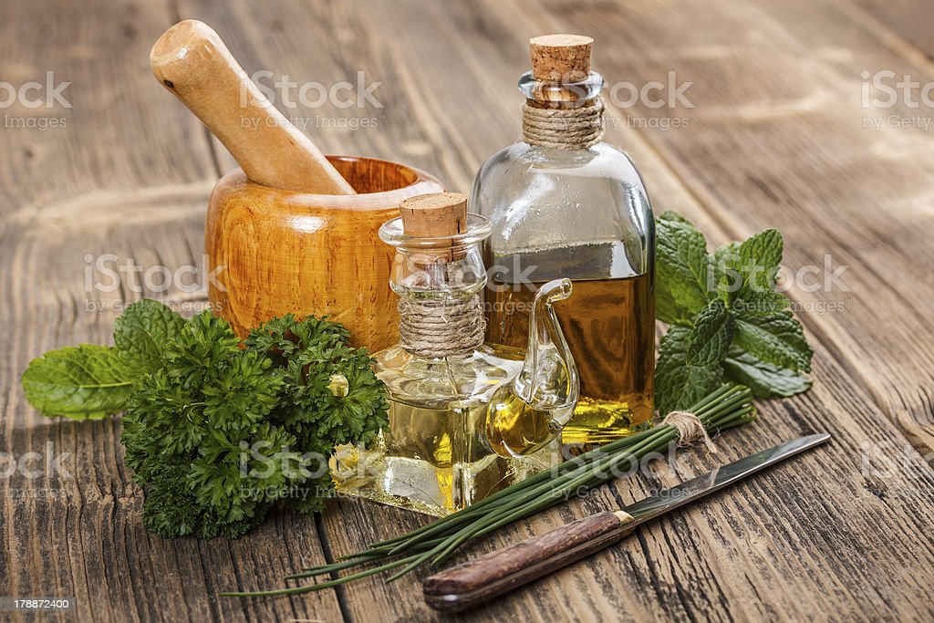 Olive oil  and herbs royalty-free stock photo