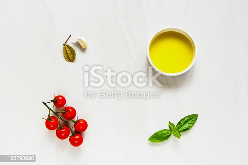 Food frame. Olive oil and ingredients flat lay
