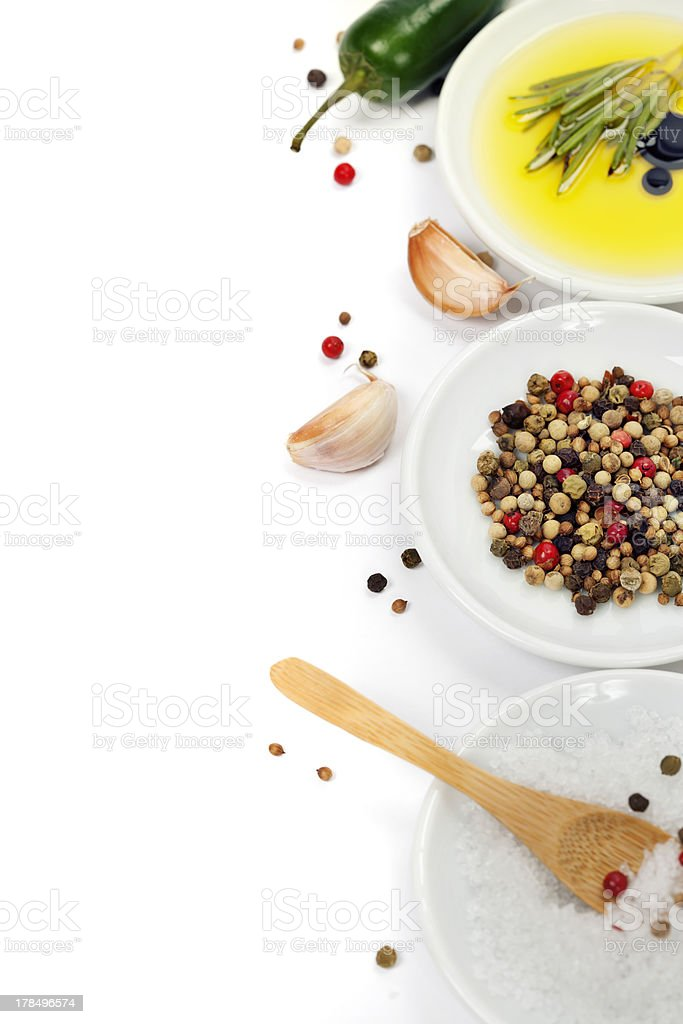 Olive oil and spices royalty-free stock photo