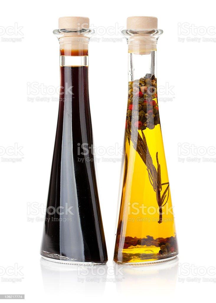 Olive oil and vinegar bottles royalty-free stock photo