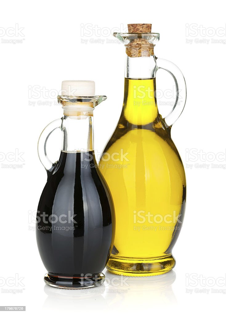 Olive oil and vinegar bottles stock photo