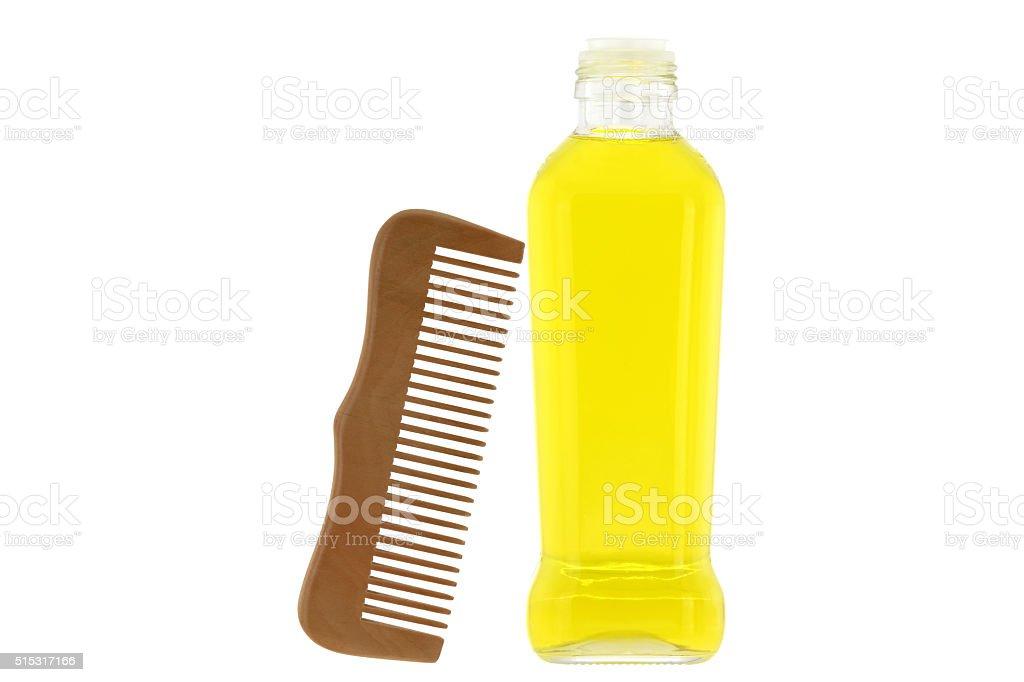 Olivenöl Und Hölzerne Kamm Behandlungen Für Haut Und Haar Stockfoto