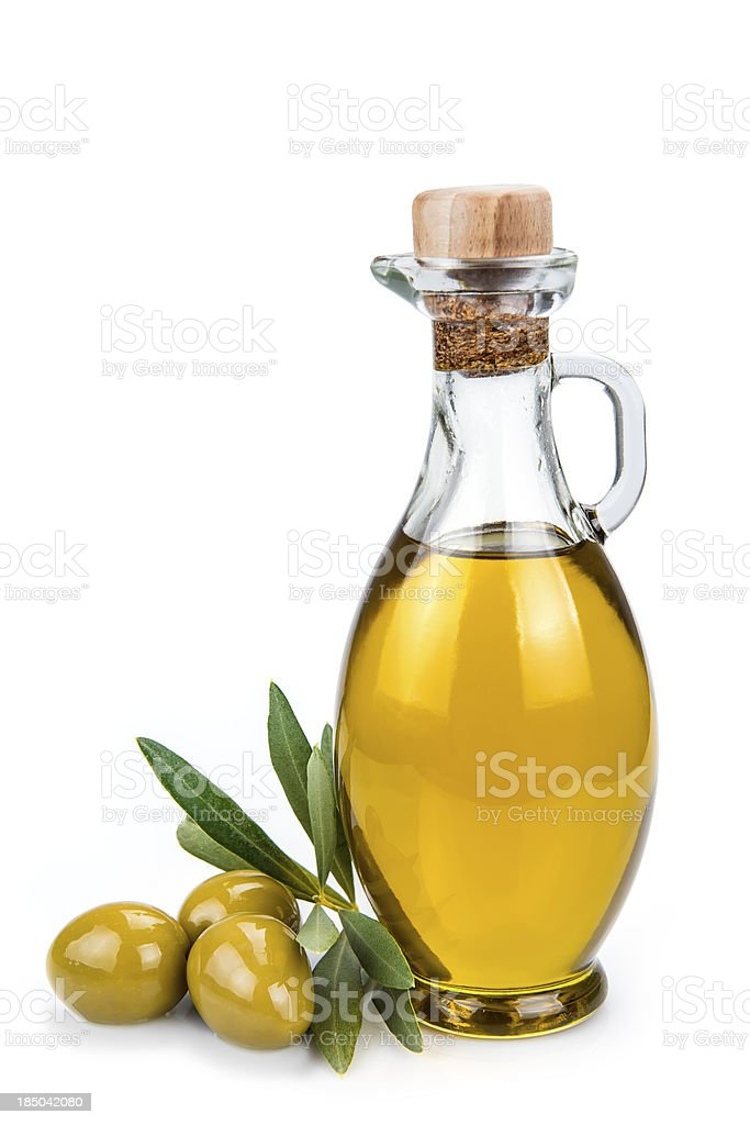 Olive oil bottle isolated on a white background. stock photo