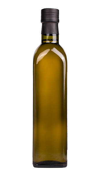olive oil bottle isolated on the white - 올리브유 뉴스 사진 이미지